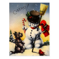 "British Snowman and Scotty Dog Saying ""Cheerio!"" Postcard"