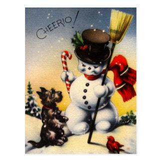 "British Snowman and Scotty Dog Saying ""Cheerio!"" Postcard"