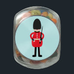 "British Soldier Glass Jar<br><div class=""desc"">A cartoon of the famous Queen&#39;s guardsman.</div>"