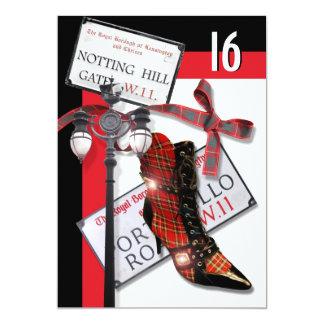 "British ""sweet sixteen"" fashion shopping party card"