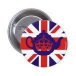 British Teapot Flag Pinback Button