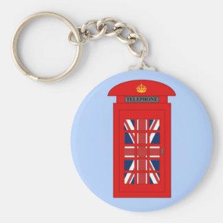 British Telephone Box Basic Round Button Keychain