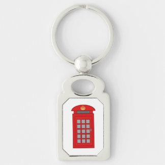 British Telephone Box Silver-Colored Rectangular Metal Keychain