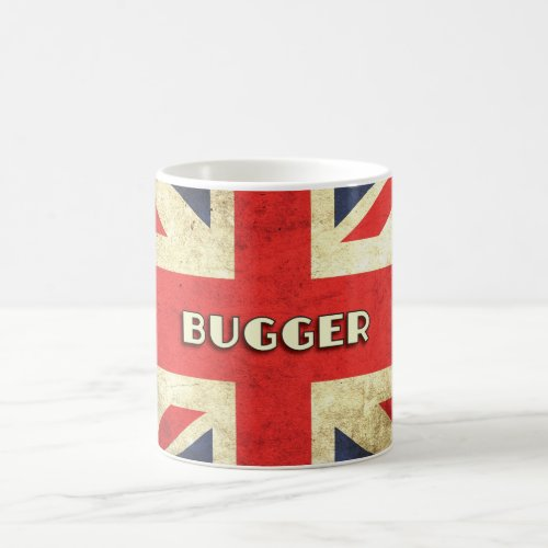 British Text on Union Jack Grunge  Bugger Coffee Mug