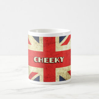 British Text on Union Jack Grunge | Cheeky Coffee Mug