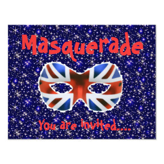British Themed party masquerade invitation