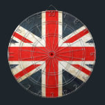 "British Union Flag Dartboard With Darts<br><div class=""desc"">Grunge style Union Flag - red,  white and blue</div>"