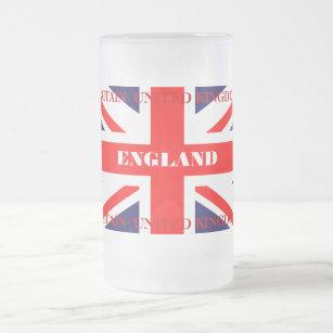 British Union Jack Britain London flag Frosted Glass Beer Mug