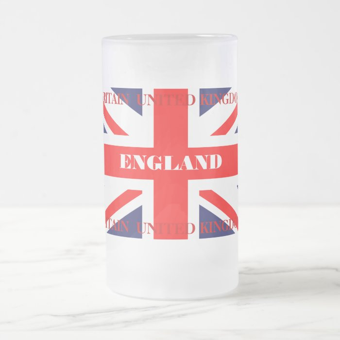 British Union Jack Britain London flag Frosted Glass Beer Mug