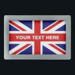 "British Union Jack flag belt buckle | Personalize<br><div class=""desc"">British Union Jack flag belt buckle. English pride flag of UK United Kingdom Great Britain. Trendy fashion accessory for men women and teen kids.</div>"