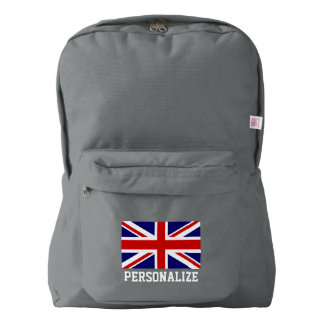 British Union Jack flag English pride personalized American Apparel™ Backpack