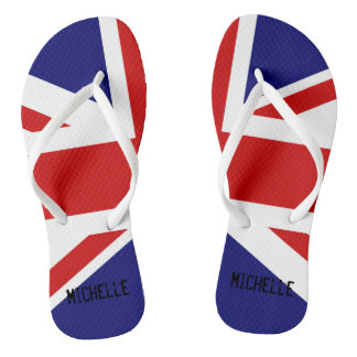 British Union Jack flag flip flops with name