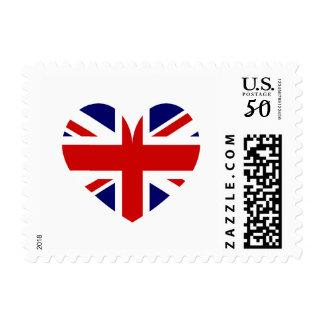British Union Jack flag heart icon postage stamps