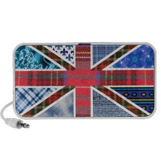 British Union Jack Flag of Tartan & Fabric Pattern Mini Speaker