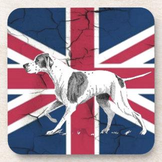 British union jack flag Retro English pointer dog Coaster