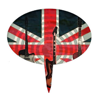 British Union Jack Flag Rock Roll Electric Guitar Cake Topper