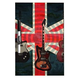 British Union Jack Flag Rock Roll Electric Guitar Dry Erase Board