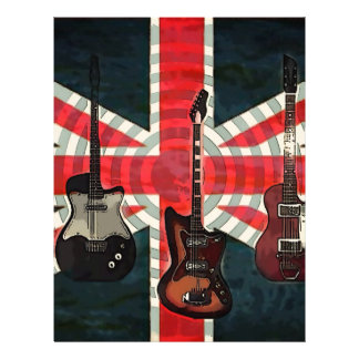 British Union Jack Flag Rock Roll Electric Guitar Letterhead
