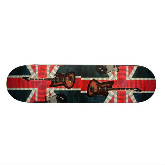 British Union Jack Flag Rock Roll Electric Guitar Skateboard
