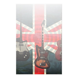 British Union Jack Flag Rock Roll Electric Guitar Stationery