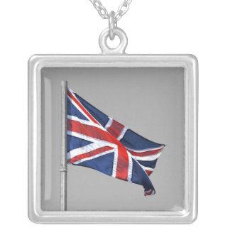 British Union Jack Flag Square Silver Necklace