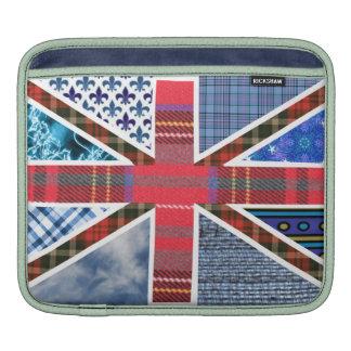 British Union Jack Flag Tartan Fabric pattern iPad Sleeves