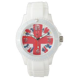 British Union Jack Flag Vintage Worn Wristwatch