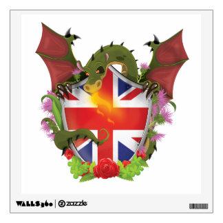 British Union Jack Shield and Dragon Wall Decal