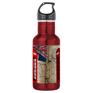 british vintage telephone booth london fashion water bottle