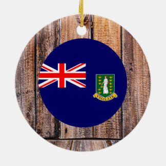 British Virgin Islands flag circle on wood backgro Double-Sided Ceramic Round Christmas Ornament