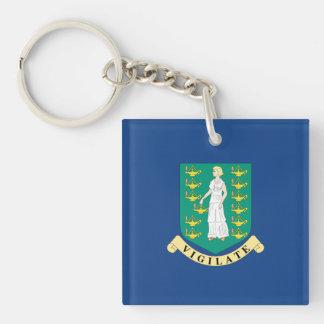 British Virgin Islands Flag Double-Sided Square Acrylic Keychain