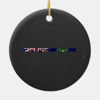 British Virgin Islands flag font Double-Sided Ceramic Round Christmas Ornament