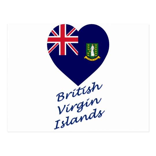 British Virgin Islands Flag Heart Postcard