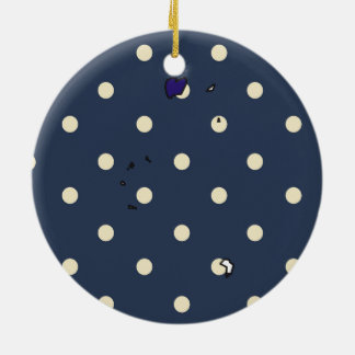 British Virgin Islands Flag Map on Polka Dots Double-Sided Ceramic Round Christmas Ornament