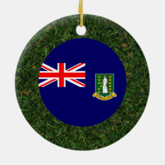 British Virgin Islands Flag on Grass Double-Sided Ceramic Round Christmas Ornament
