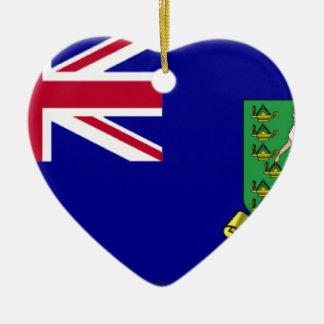 British Virgin Islands Flag Double-Sided Heart Ceramic Christmas Ornament