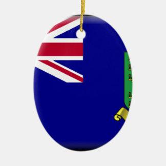 British Virgin Islands Flag Double-Sided Oval Ceramic Christmas Ornament