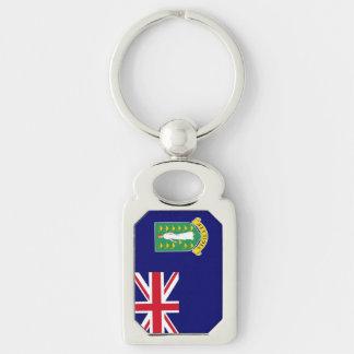 British Virgin Islands Flag Silver-Colored Rectangular Metal Keychain