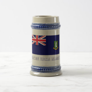 British Virgin Islands Flag with Name Beer Stein