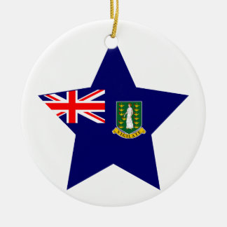 British+Virgin+Islands Star Double-Sided Ceramic Round Christmas Ornament