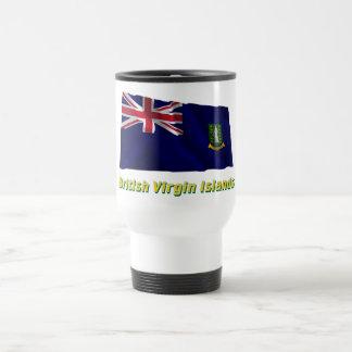 British Virgin Islands Waving Flag with Name 15 Oz Stainless Steel Travel Mug