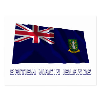 British Virgin Islands Waving Flag with Name Postcard