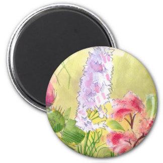 British Wild Flowers Painting 2 Inch Round Magnet