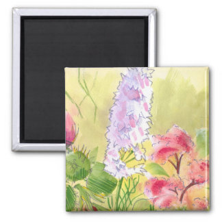 British Wild Flowers Painting 2 Inch Square Magnet