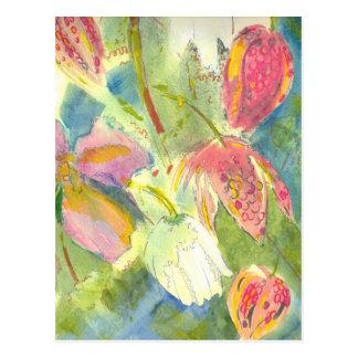 British Wild Flowers Painting Floral Design Postcard