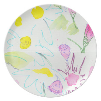 British Wild Flowers watercolor painting pattern Dinner Plate