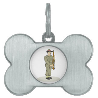 British World War II Soldier Presenting Arms Carto Pet Name Tag