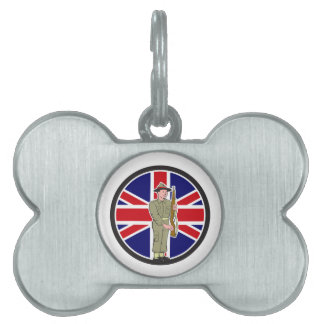 British World War II Soldier Union Jack Flag Carto Pet ID Tag