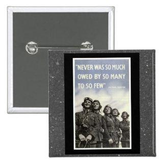British WW2 Churchill Quotation 2 Inch Square Button