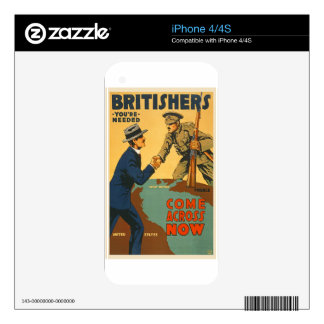 Britishers Come Across Now WWI British Propaganda Decal For iPhone 4